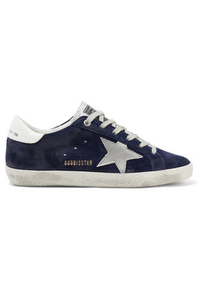 Golden Goose Deluxe Brand - Superstar Distressed Suede And Leather Sneakers - Navy
