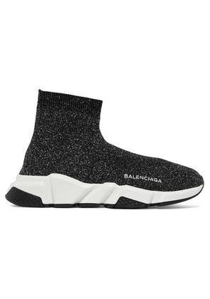 Balenciaga - Speed Logo-embroidered Metallic Stretch-knit High-top Sneakers - Black