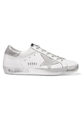 Golden Goose Deluxe Brand - Superstar Distressed Leather Sneakers - Silver