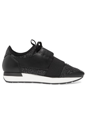 Balenciaga - Race Runner Metallic Stretch-knit And Leather Sneakers - Black