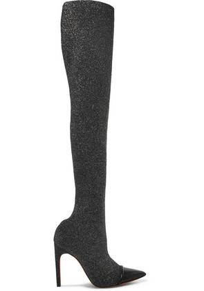 Givenchy - Leather-trimmed Lurex Over-the-knee Sock Boots - Black