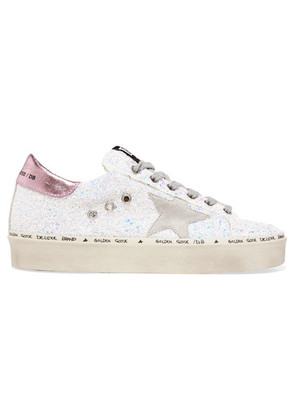Golden Goose Deluxe Brand - Hi Star Distressed Glittered Leather Sneakers - White