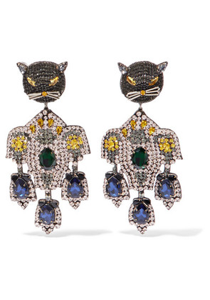 Gucci - Gold-tone, Crystal And Silk Clip Earrings - Metallic