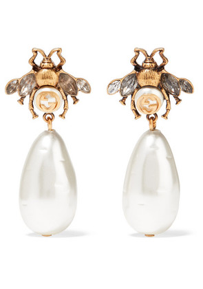 Gucci - Gold-plated, Crystal And Faux Pearl Earrings - one size