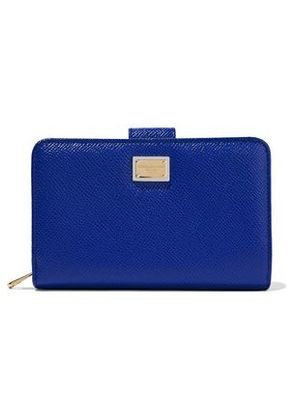 Dolce & Gabbana Woman Textured-leather Wallet Bright Blue Size -
