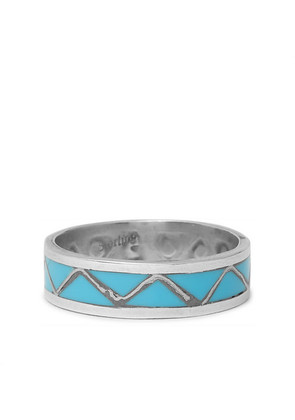 Foundwell - 1980s Silver Turquoise Ring - Silver