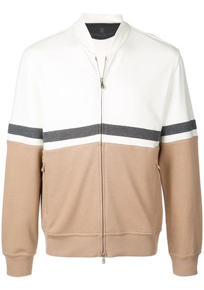 Brunello Cucinelli colour block bomber jacket - White
