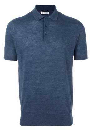 Brunello Cucinelli short sleeved polo shirt - Blue
