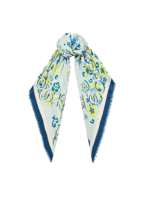 KENNA Cashmere and Modal Pashmina in Cool Mint with a Seasonal Floral Print