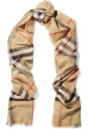 Burberry - Checked Wool And Silk-blend Scarf - Camel
