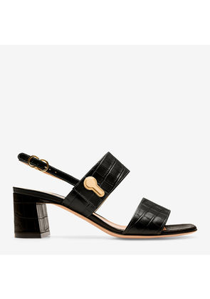 Bally Cellese Black, Women's croc printed calf leather sandal with 55mm heel in black