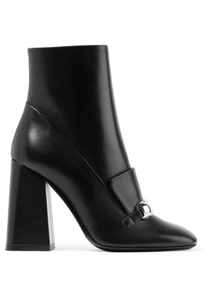 Burberry - Embellished Leather Ankle Boots - Black
