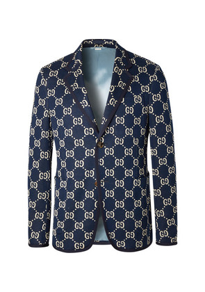 Gucci - Navy Logo-jacquard Cotton Blazer - Navy