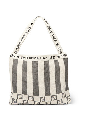 Fendi - Convertible Logo-jacquard Cotton-blend Terry Tote Bag - Neutral
