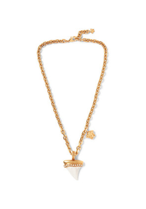 Versace - Gold-tone, Crystal And Shark Tooth Necklace - Gold