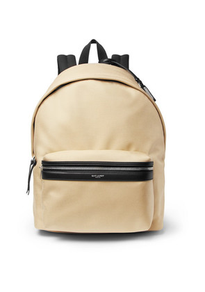 Saint Laurent - City Leather-trimmed Canvas Backpack - Tan