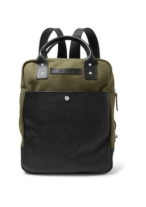 Oliver Spencer - Full-grain Leather And Cotton-canvas Backpack - Army green