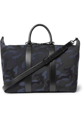 Mulberry - Leather-trimmed Camouflage-print Canvas Holdall - Navy