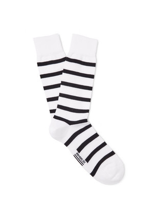 Armor Lux - Striped Stretch Cotton-blend Socks - White