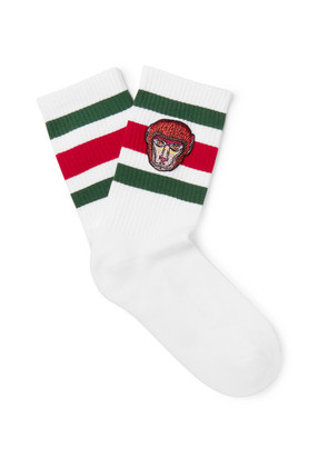 Gucci - Appliquéd Striped Stretch Cotton-blend Socks - White