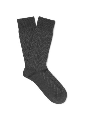 Mr P. - Chevron Mélange Cotton-blend Socks - Charcoal