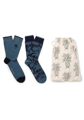 Desmond & Dempsey - Two-pack Stretch Cotton-blend Socks - Blue