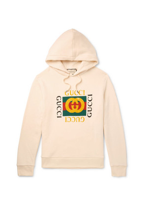 Gucci - Printed Loopback Cotton-jersey Hoodie - Cream