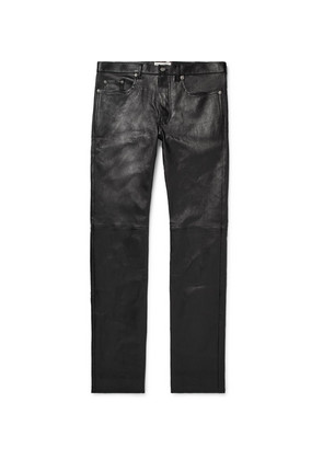 Saint Laurent - Skinny-fit Leather Trousers - Black