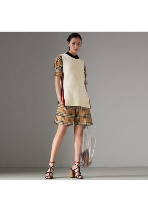 Burberry Vintage Check Cotton Drawcord Shorts, Yellow