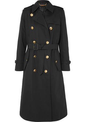 Givenchy - Belted Double-breasted Cotton And Linen-blend Twill Coat - Black