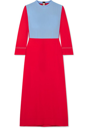 Marni - Two-tone Crepe Midi Dress - Red