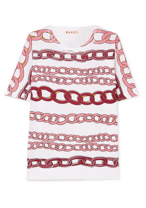 Marni - Printed Cotton-jersey T-shirt - Pink
