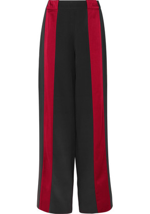 Marni - Satin-trimmed Crepe Wide-leg Pants - Black