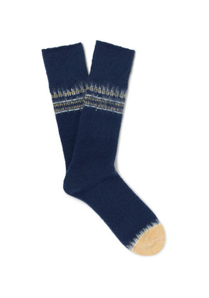 Mr P. - Striped Textured-knit Socks - Navy