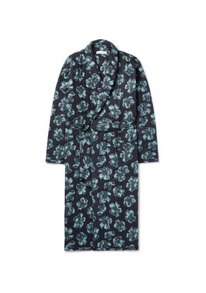 Desmond & Dempsey - Victor Quilted Printed Cotton Robe - Blue