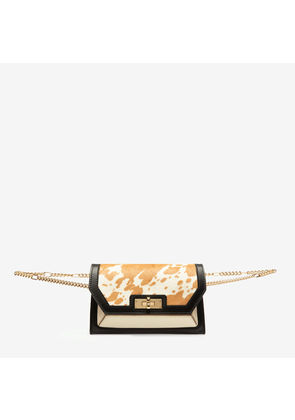 Bally Sofy No Colour, Women's calf leather and calf hair bag in bianco and cuoio