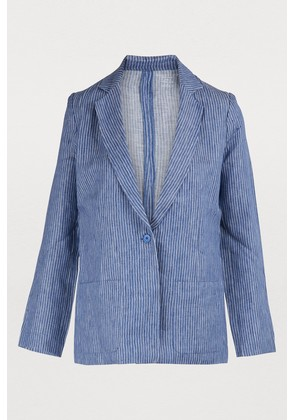 Long-sleeve striped linen jacket