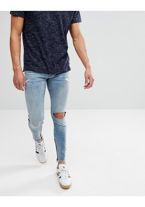 Jack & Jones Intelligence Jeans In Skinny Fit with Distress and Zip Ankle