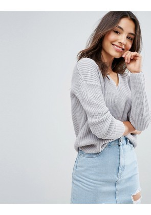 ASOS Ultimate Chunky Jumper With V Neck - Mid grey