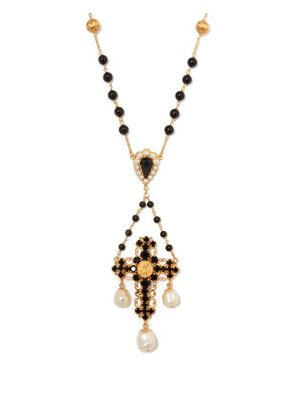 Dolce & Gabbana - Onyx, Crystal And Pearl Cross Necklace - Womens - Gold
