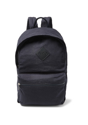 A.P.C. - Sadie Leather-trimmed Canvas Backpack - Navy