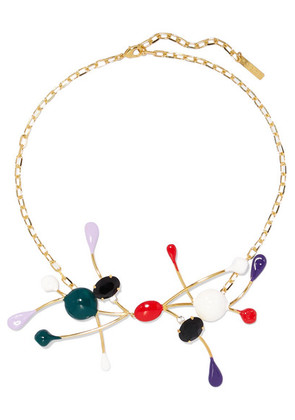 Marni - Gold-plated, Enamel And Crystal Necklace - Red