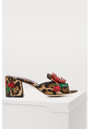 Leopard and rose print mules