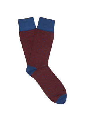 Kingsman - + Corgi Polka-dot Cotton-blend Socks - Burgundy