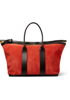 TOM FORD - Leather-trimmed Suede Holdall - Bright orange