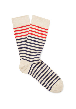 Bellerose - Folor Striped Stretch Cotton-blend Socks - Beige