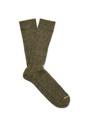 Bellerose - Ribbed Mélange Cotton-blend Socks - Army green