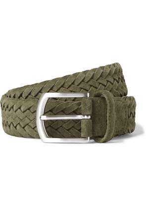 Anderson's - 3.5cm Green Woven Suede Belt - Green