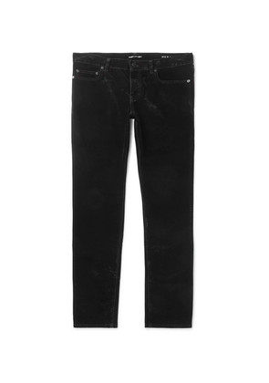 Saint Laurent - Slim-fit Cotton-velvet Trousers - Black