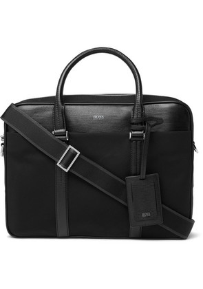 Hugo Boss - Meridian Cross-grain Leather Trimmed Canvas Briefcase - Black